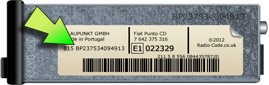 Blaupunkt Radio Code Serial Number Examples